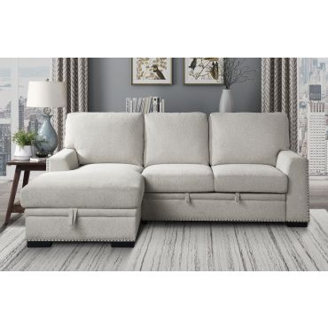 Willex Beige Chenille Sectional Sleeper
