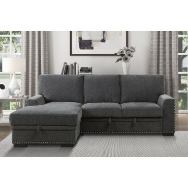 Willex Charcoal Sectional Sleeper With Storage