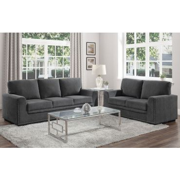 Willex Charcoal Chenille Sofa Set With Nailhead
