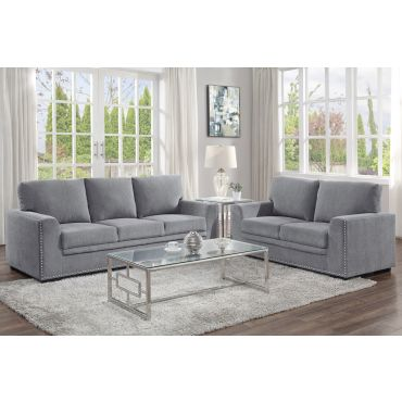 Willex Grey Chenille Sofa Set