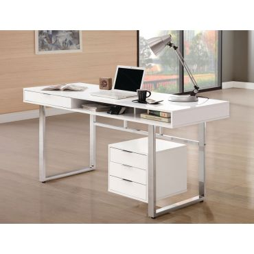 Worcher White Lacquer Home Office Desk