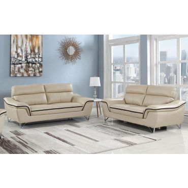 Wraith Beige Leather Sofa,Wraith Beige Leather Living Room Set