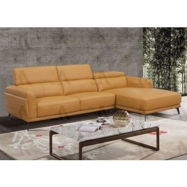 Yannis Orange Top Grain Leather Sectional