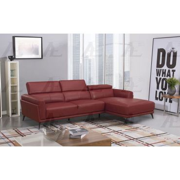 Yannis Red Leather Modern Sectional
