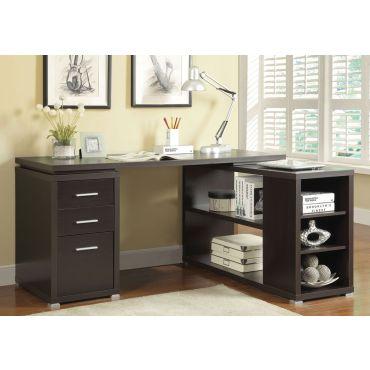 Yvette Cappuccino L-Shape Desk
