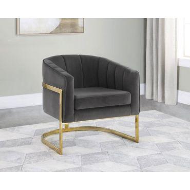 Zahra Grey Velvet Chair Gold Leg