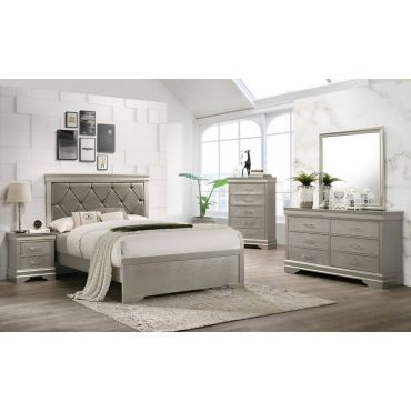 Zain Silver Finish Bedroom Collection