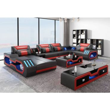 Zanika Black Leather Sectional With Lights