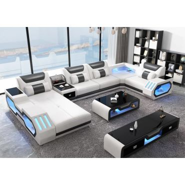 Zanika White Leather Sectional With Lights
