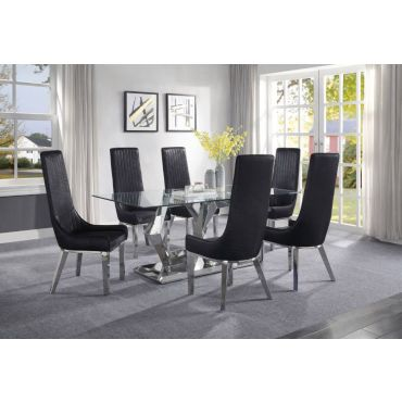 Zeba Modern Glass Top Dining Table Set