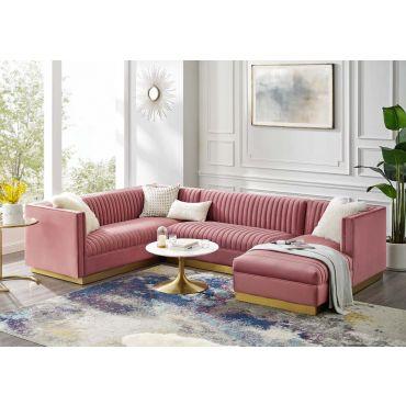 Zenfira Pink Velvet U-Shape Sectional