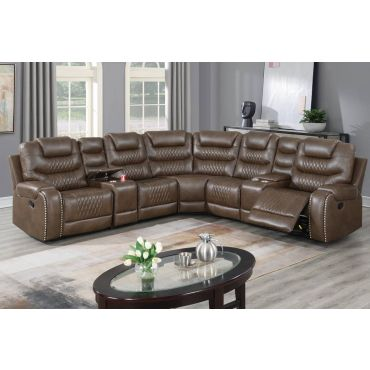 Zenobia Brown Leather Recliner Sectional