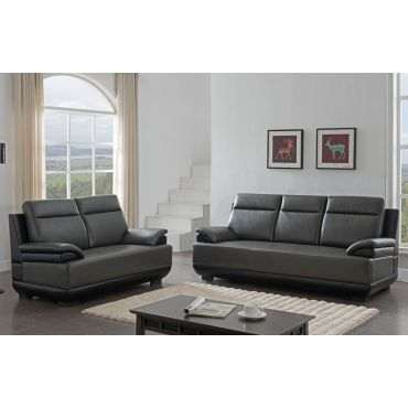 Zibak Gray and Black Leatherette Modern Sofa