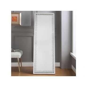 Zoey Floor Mirror With Crystal Accent Trim