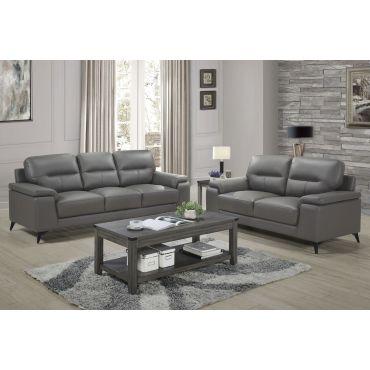 Zoso Modern Grey Leather Living Room