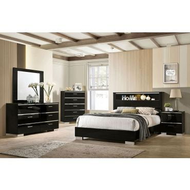 Zsolt Black Lacquer Bed With Light