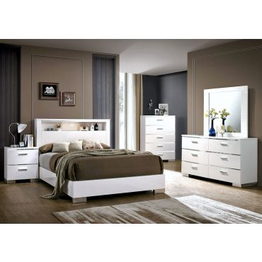 Zsolt Bedroom Furniture White Lacquer Finish