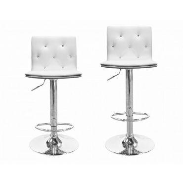 Jaylyn Crystal Tufted Leather Bar Stool