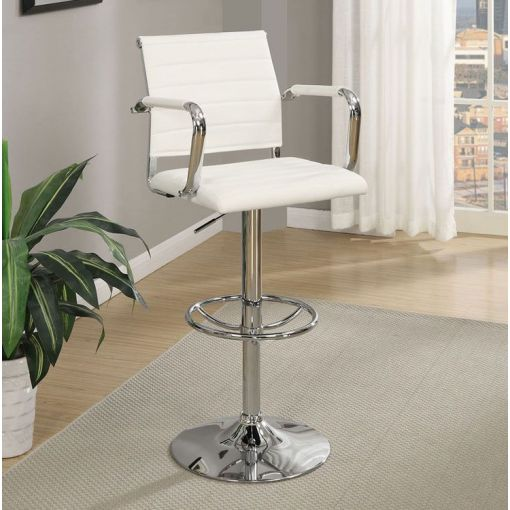 Abby White Leather Barstool Set of 2
