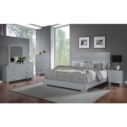 Abrie Grey Lacquer Modern Bed