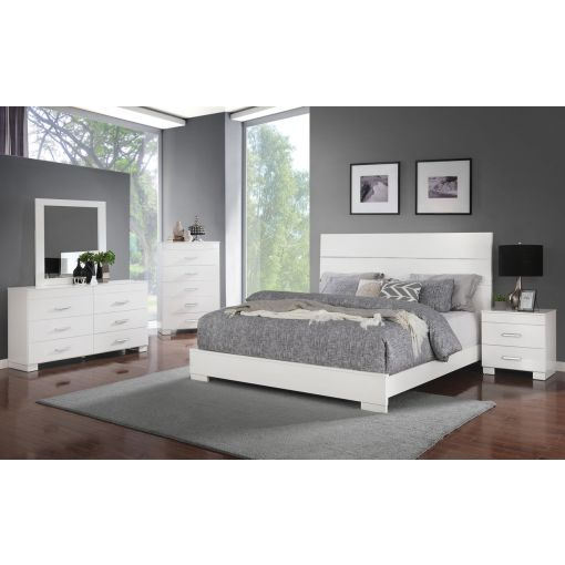 Abrie White Lacquer Modern Bed