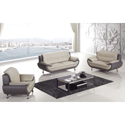 Griffen Modern Style Grey Leather Sofa Set