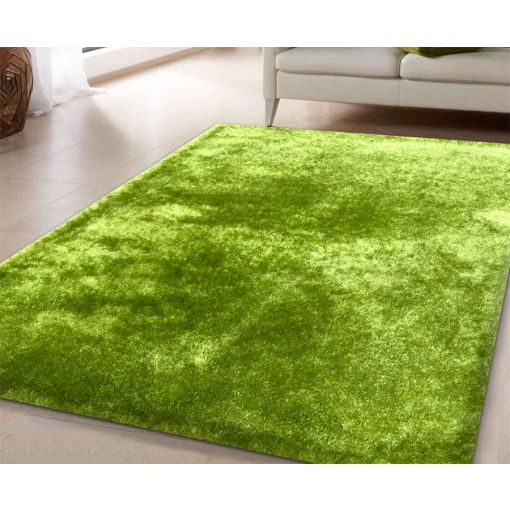 Amore Solid Green Shag Rug