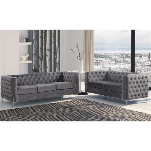 Antares Grey Velvet Chesterfield Sofa