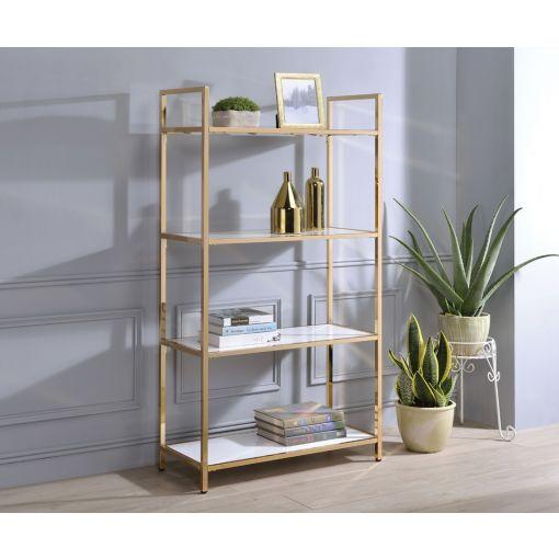 Ashlar Gold Bookcase With White Shelves