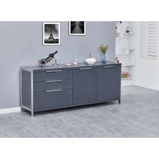 Aland Server Cabinet Gray High Glossy Finish