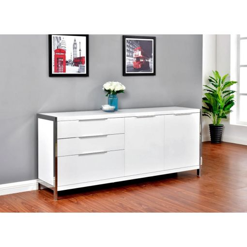 Aland Modern White Lacquer Buffet