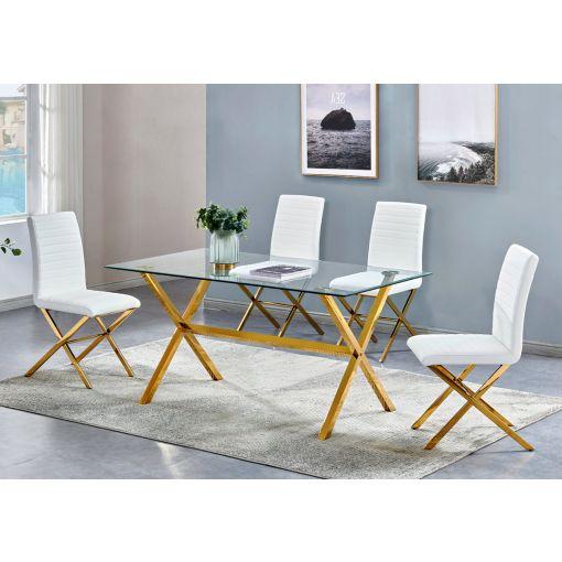 Xavia Gold Finish Dining Table Set