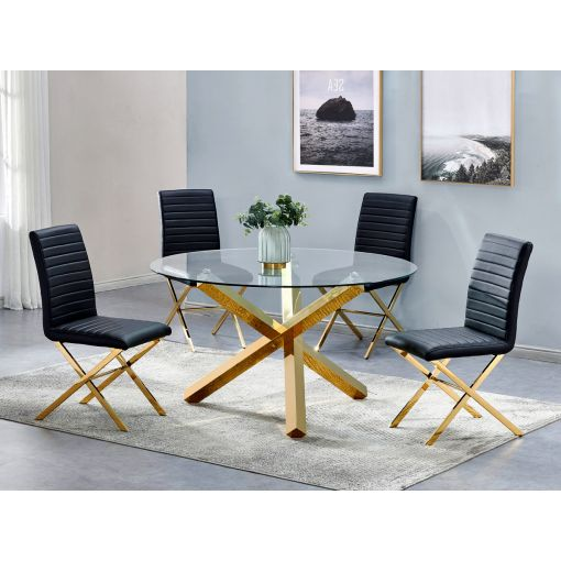 Axis Gold Finish Dining Table Set