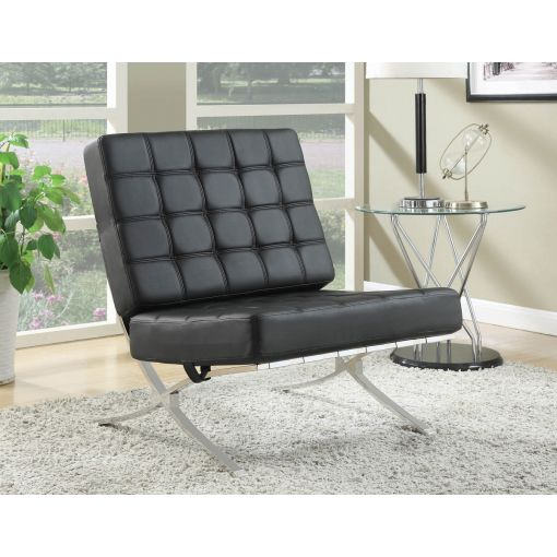 Barcelona Black Leather Accent Chair