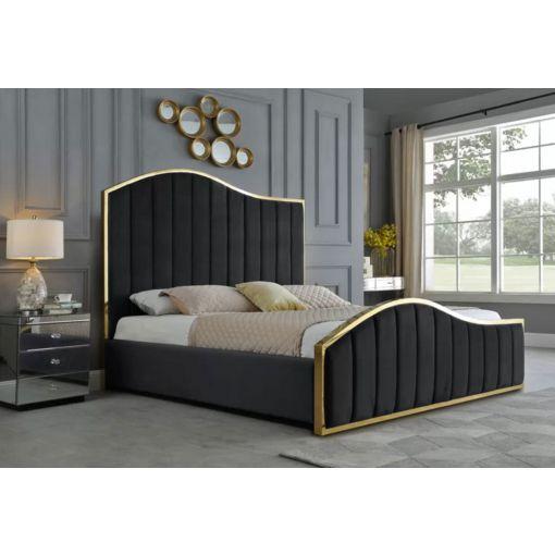 Barletta Black Velvet Bed With Gold Frame