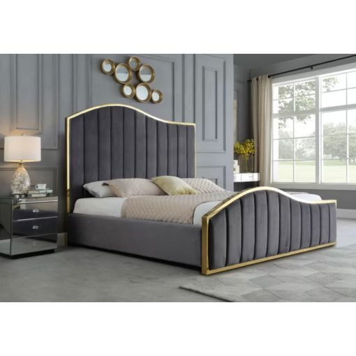 Barletta Grey Velvet Bed Gold Trim