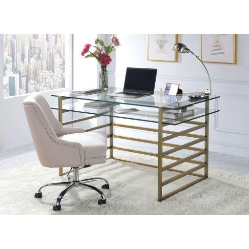 Berkley Clear Glass Top Antique Gold Desk