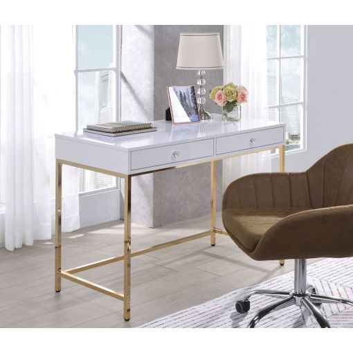 Bestar White Lacquer Desk With Gold Finish Base