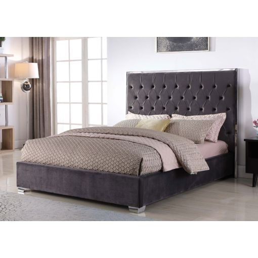 Prague Dark Grey Velvet Upholstered Bed