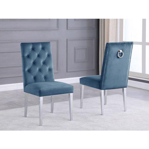 Bina Teal Velvet Chairs