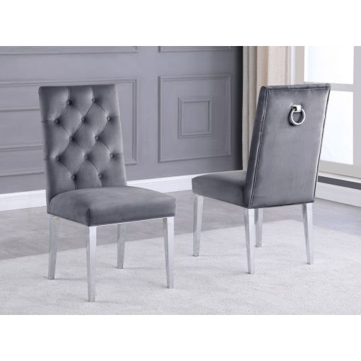 Bina Grey Velvet Dining Chairs