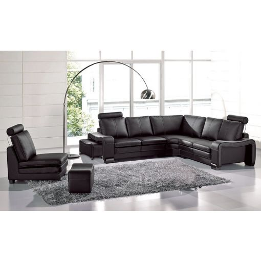 L 213 Black Color Leather Sectional,Black Leather Armless Chair and Ottoman,L 213 Sectional Armrest
