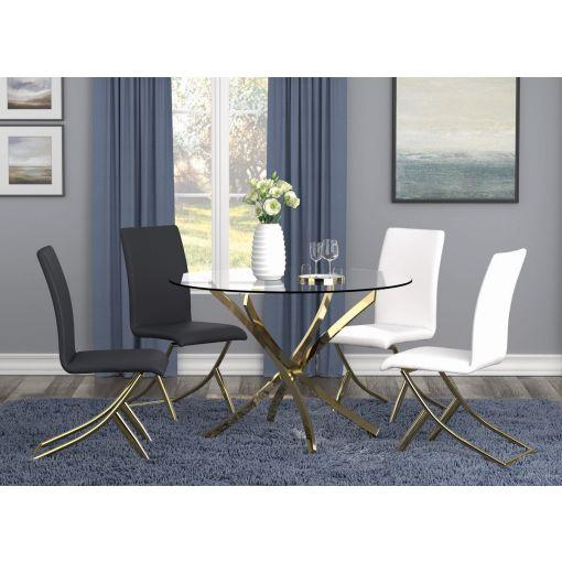Brady Gold Finish Dining Table Set