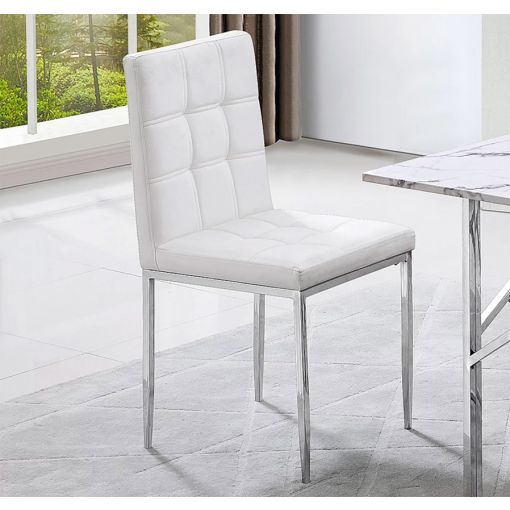 Bresso White Leather Dining Chairs