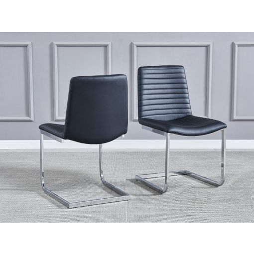 Bruce Black Leather Dining Chairs
