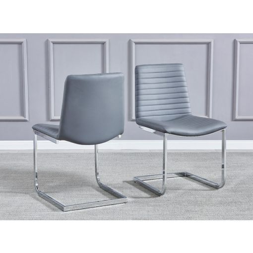 Bruce Grey Leather Dining Chairs