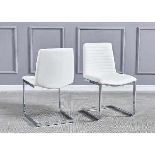 Bruce White Leather Dining Chairs