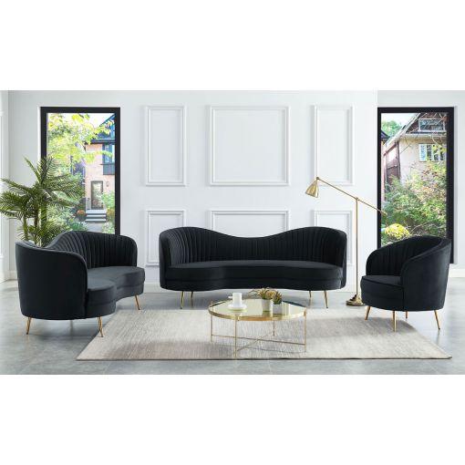 Burgues Black Velvet Sofa