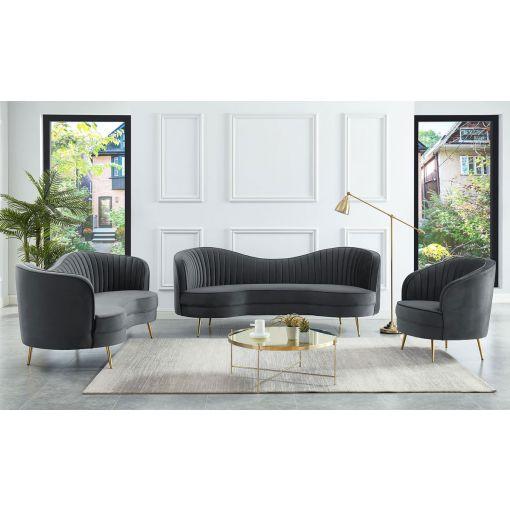 Burgues Grey Velvet Modern Sofa