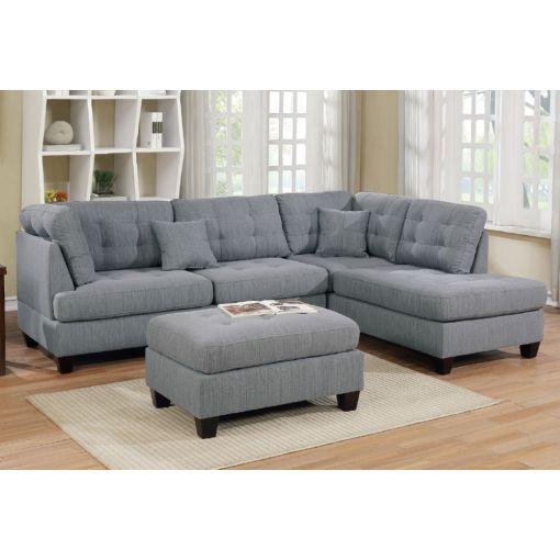 Camden Sectional Sofa Set Grey Linen